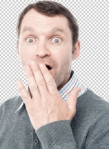 Shocked man covering his mouth with hand