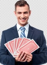 Businessman with play cards