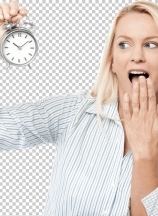 Shocked woman holding alarm clock