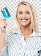 Smiling female model holding up credit card.
