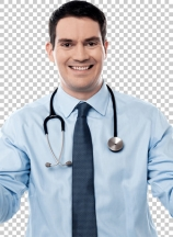 Smart doctor standing with arms wide open