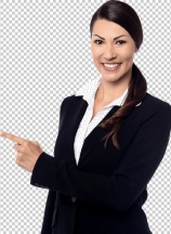 Businesswoman pointing copysoace