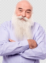 Hoary old man with crossed arms over white