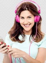 Woman with cell phone and hear phone