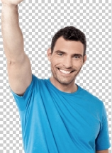Handsome middle aged man waving hand over white