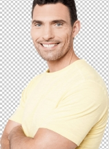 Confident young man posing with crossed arms