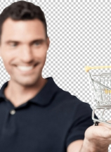 Handsome young man holding shopping cart