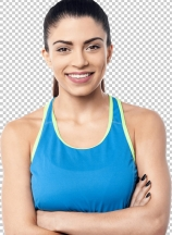 Confident fitness woman smiling at camera