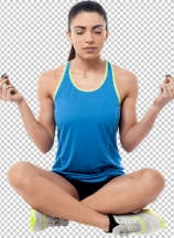 Fitness woman sitting cross legged in lotus position