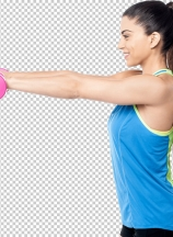 Side pose of fitness woman lifting dumbbells