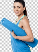 Fitness woman holding rolled up exercise mat