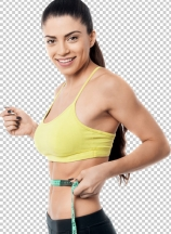 Fitness woman with measuring tape around her waist