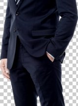 Full length of businessman with hand in pocket