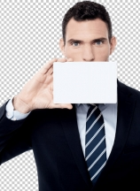 Businessman cover his face with blank card