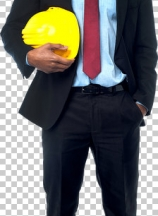 Construction engineer holding hard hat